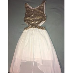 White and gold high low dress